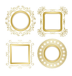 gold ornamental frames with transparent shadow vector image