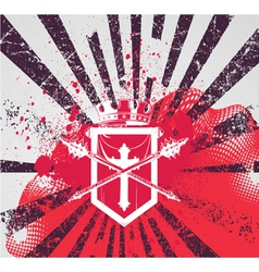 Grunge background with crest vector