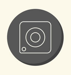 Image of the camera a round line icon with vector