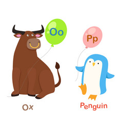 Isolated alphabet letter o-oxp-penguin vector