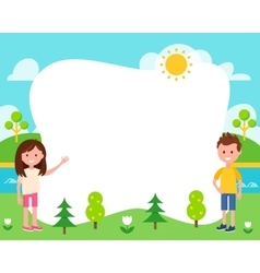Kids and Summer Landscape Poster Template vector image vector image