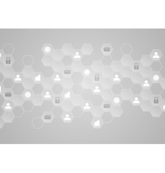 Light grey tech communication abstract background vector