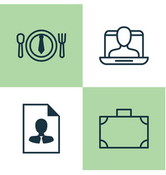 Management icons set collection of cv social vector