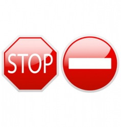 no entry and stop vector image