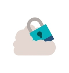 Padlock with shackle into the cloud vector