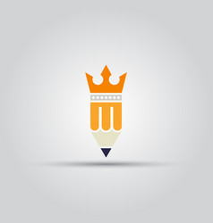 pencil with crown isolated colored icon vector image vector image