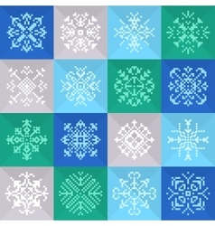 Pixel christmas snowflakes set for winter holidays vector