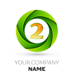 Realistic number two logo in the colorful circle vector