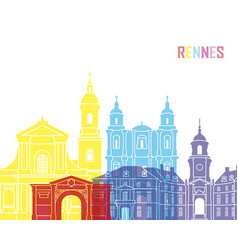 Rennes skyline pop vector