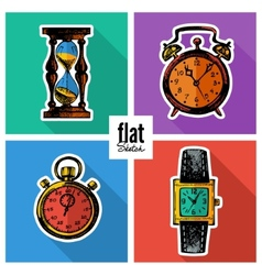 Set of sketch hand drawn clocks Flat icons vector image