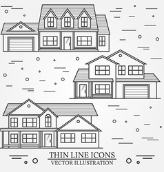 Set of thin line icon suburban american houses For vector image vector image