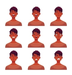 Set of young african man face expression avatars vector