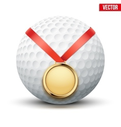Sport gold medal with ribbon for winning golf vector