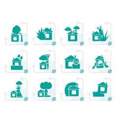Stylized home and house insurance and risk icons vector