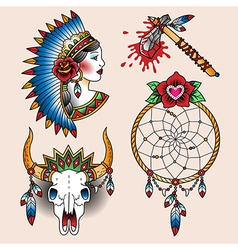 tattoo indian set vector image vector image