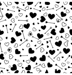 Valentine heart love seamless pattern with arrows vector image