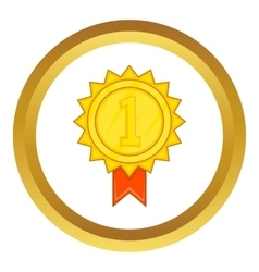 Winner gold rosette icon vector image