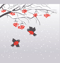 Winter landscape with snow-covered rowan and birds vector