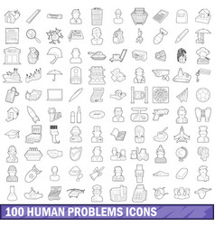 100 human problems icons set outline style vector