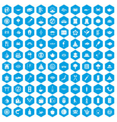 100 sushi bar icons set blue vector