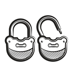 lock icon black and white vector image