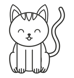Cute cat animal tender isolated icon vector