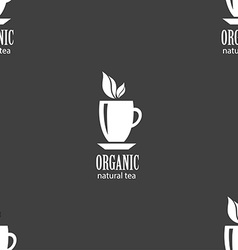 Organic natural tea sign seamless pattern on a vector