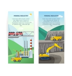 Mining industry banners set vector