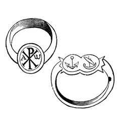 episcopal rings vintage engraving vector image