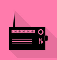 Radio sign  black icon with flat vector