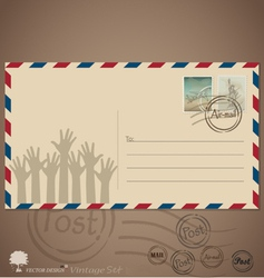 Vintage envelope designs with postage stamps vector