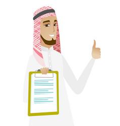 muslim businessman showing clipboard vector image