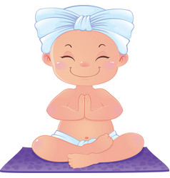 Yogi in meditation sitting in lotus position vector