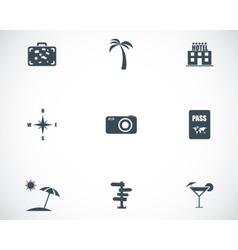 black travel icons set vector image