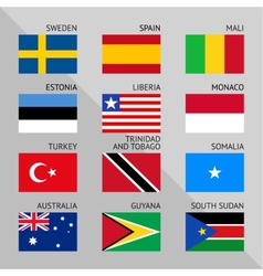 Flags of world flat set number 09 vector