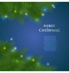 Greeting christmas card with spruce branches and vector