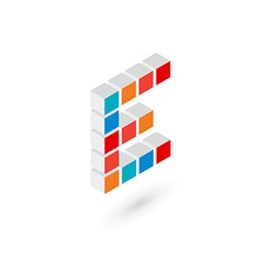 3d cube letter e logo icon design template vector