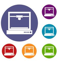 3d printer model icons set vector