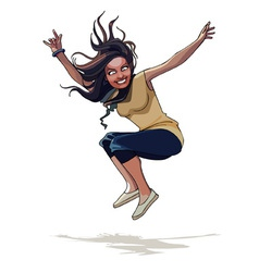 Cartoon happy girl with long hair jumping vector
