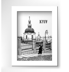 Drawing of historical building landscape ukrainian vector