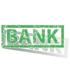 Green outlined bank stamp vector
