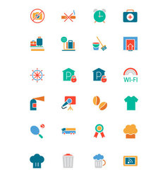 Hotel and restaurant colored icons 9 vector