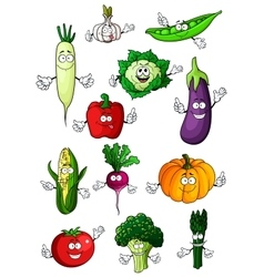 Healthful organic vegetables cartoon characters vector