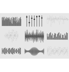 Black sound music waves on white background audio vector