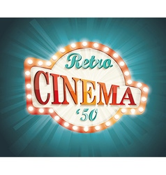 Old cinema banner with light bulbs vector