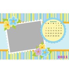 Babys calendar for september 2011 vector image