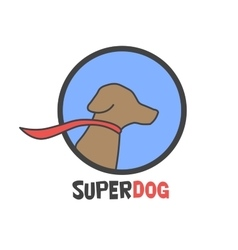 Blue super dog with a cape - logo vector