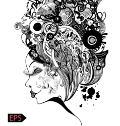 Beautiful fashion women with abstract and floral vector image