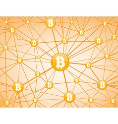 Bitcoin network yellow background vector