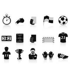 black football icons set vector image vector image